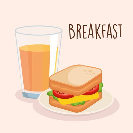 delicious sandwich breakfast with orange juice vector illustration Çizim