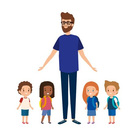 young teacher male with little students vector illustration design  イラスト・ベクター素材