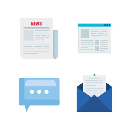 set of news documents with chat bubble and letter information vector illustration