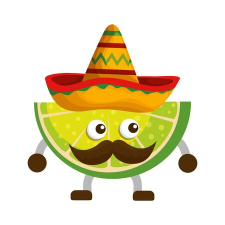 lemon with mexican hat and mustache vector illustration design Illustration