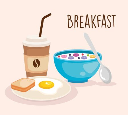 cereal wth fried egg and sliced bread vector illustration Stock Illustratie