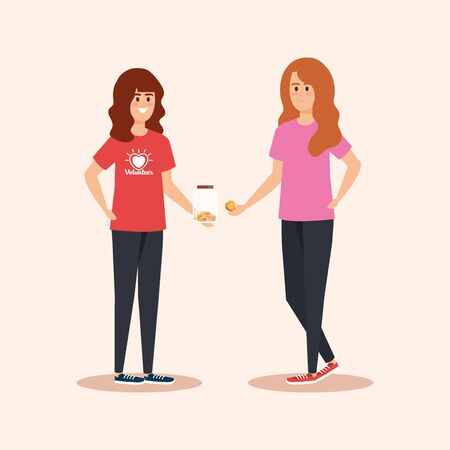 girls with moneybox and coins donation to help vector illustration Çizim