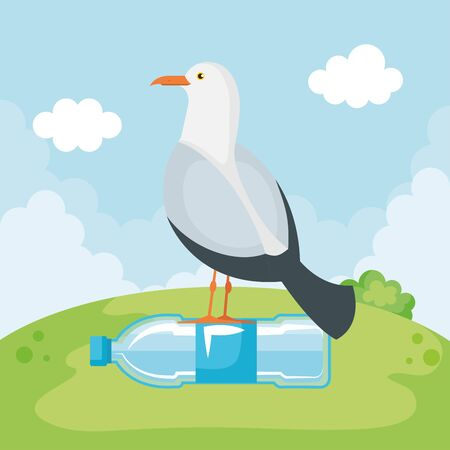 dove bird with toxic plastic bottle waste pollution vector illustration