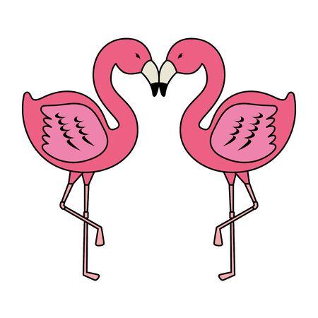elegant flamingos birds couple vector illustration design Foto de archivo - 128009213