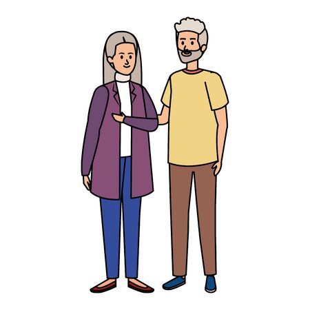 cute grand parents couple characters vector illustration design Illustration