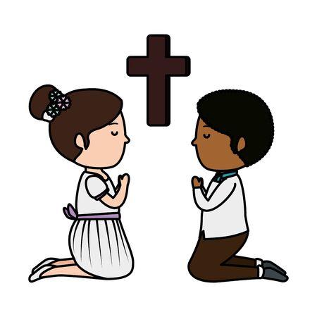 little kids kneeling with cross first communion vector illustration design Stockfoto - 128049820