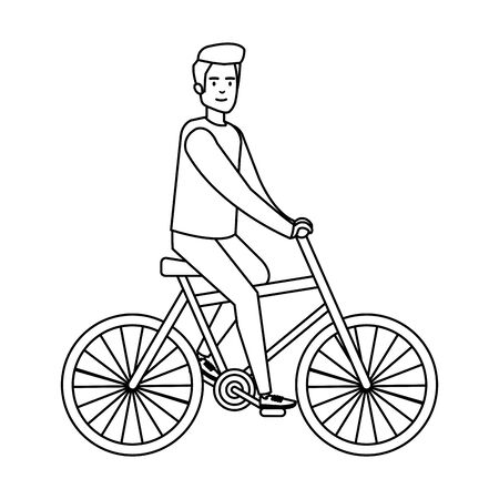 young man ride bike vector illustration design Stock Illustratie
