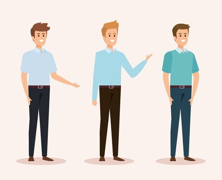 set of happy men with casual clothes and hairstyle vector illustration Illustration