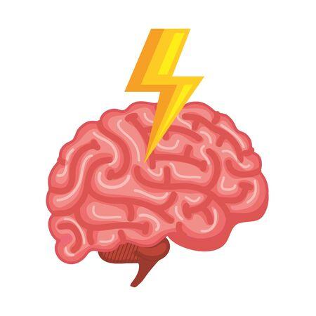 brain human organ with ray power vector illustration design