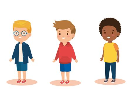 set boys children with casual clothes vector illustration