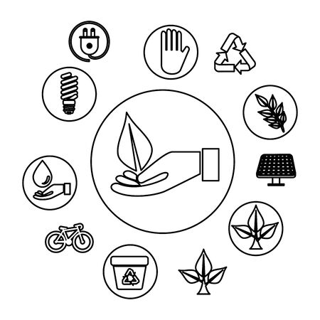 hand with ecology leafs and icons vector illustration design
