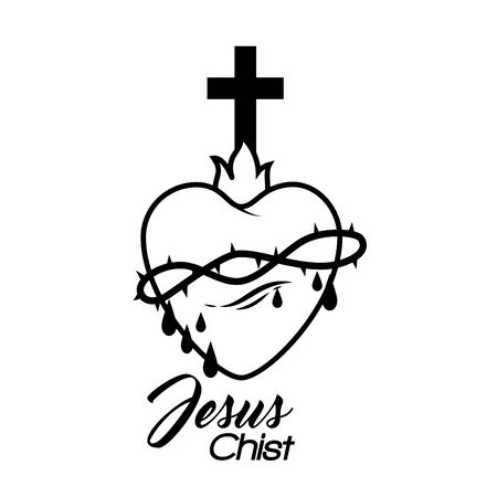 sacred jesus heart icon vector illustration design Imagens - 128050366