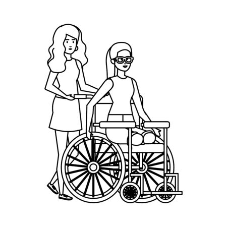 young woman in wheelchair with female helper vector illustration design Foto de archivo - 128050403