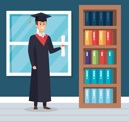 man graduation with rope and academic diploma vector illustration Ilustrace