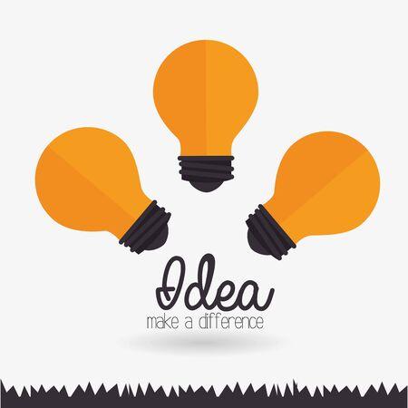 Idea design su sfondo bianco, illustrazione vettoriale.