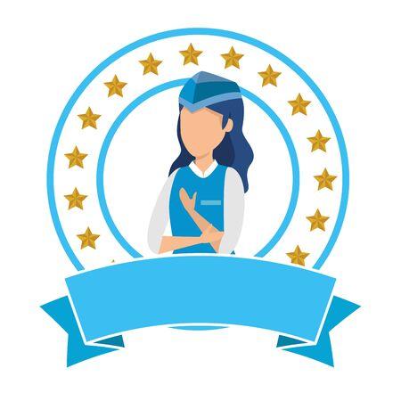 female flight attendant avatar character vector illustration design 向量圖像