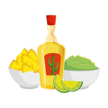 tequila bottle with nachos and guacamole vector illustration design