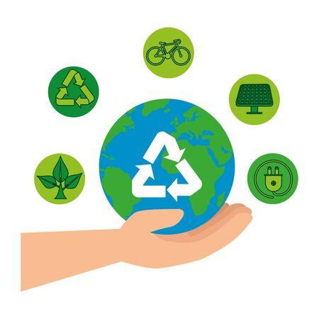 hand lifting earth planet with recycle arrows vector illustration design Illusztráció