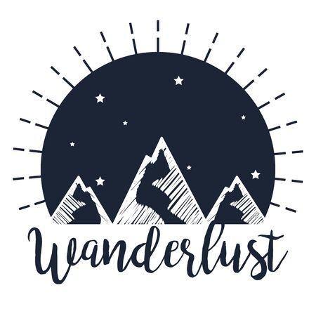 label of snowy mountains with stars to wanderlust travel vector illustration Illustration