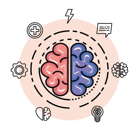 health brain with creative and intelligence memory vector illustration Stock Illustratie
