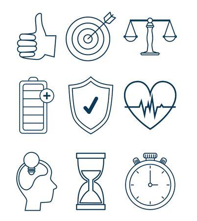 set wellness balance with exercise lifestyle vector illustration