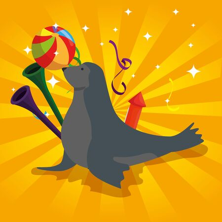 seal wild animal with trumpets and ball vector illustration