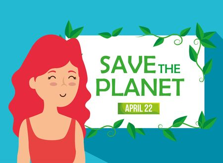 woman and emblem with planet conservation message vector illustration