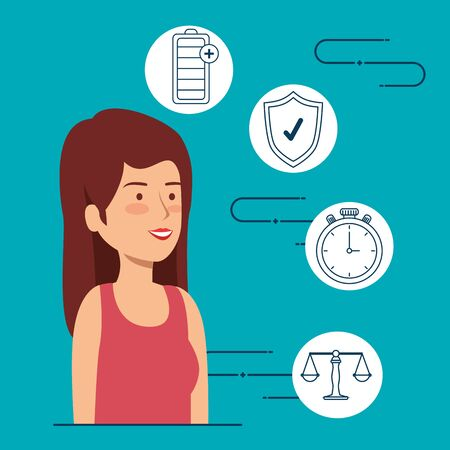 woman balance with battery and shield security vector illustration