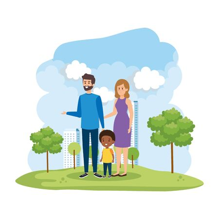 interracial parents couple with son in the park scene vector illustration design Stock Vector - 128073982