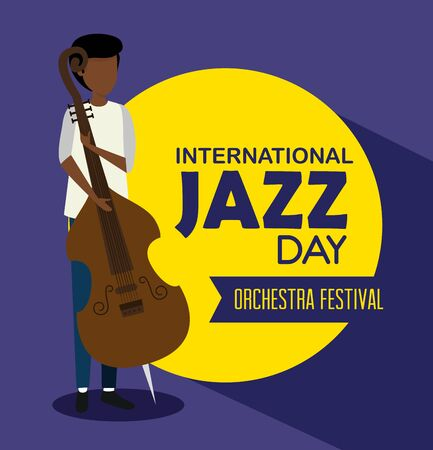 man play cello instrument to jazz day vector illustration