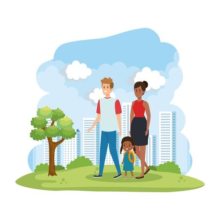interracial parents couple with daughter in the park vector illustration design Stock Vector - 128076475