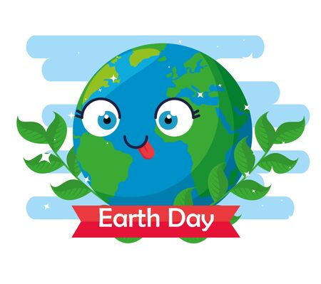 funny planet with branches leaves to earth day vector illustration Çizim