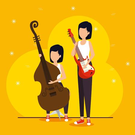 women play instruments to jazz festival vector illustration Illustration