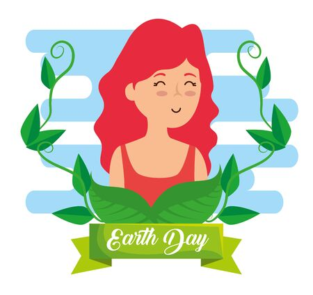 woman with branches leaves to earth day vector illustration Çizim