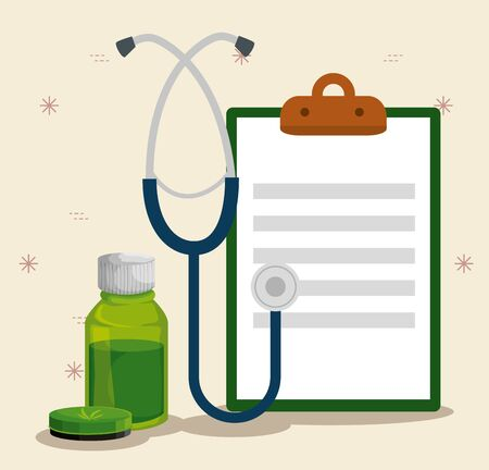 cannabis ointment and oil bottle with stethoscope and check list vector illustration Stock Illustratie