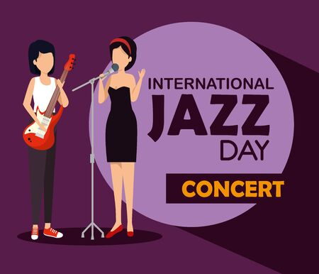women play instrument to international jazz day vector illustration Illustration