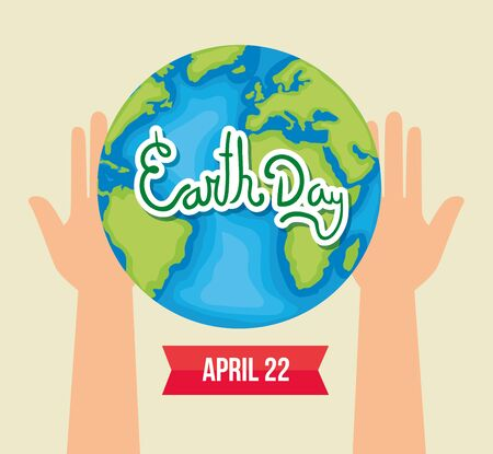 hands with ecology planet to earth day vector illustration