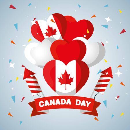 ballons du drapeau du canada avec ruban et illustration vectorielle de feux d'artifice