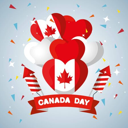 canada flag balloons with ribbon and fireworks vecctor illustration