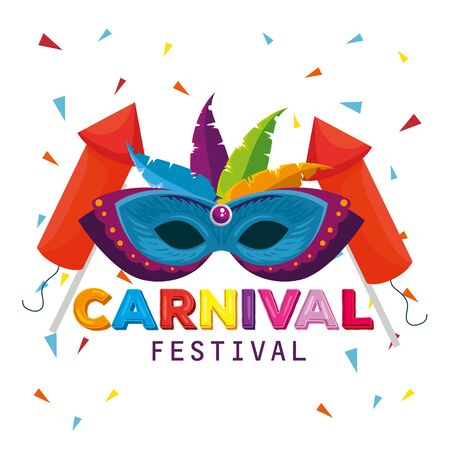 mask with feathers and fireworks to traditional carnival celebration vector illustration