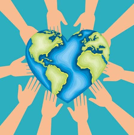 hands with heart planet to earth day vector illustration