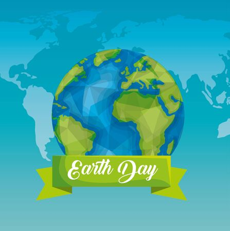 ecology planet with ribbon to earth day vector illustration