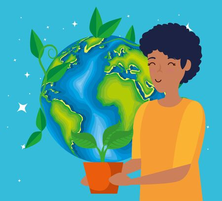 woman with plants leaves and planet conservation vector illustration Çizim
