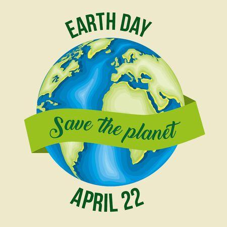 pianeta con nastro per la celebrazione della giornata della terra illustrazione vettoriale