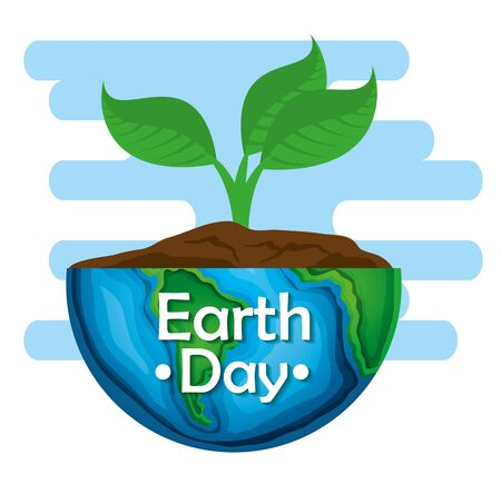planet with planet and leaves to earth day vector illustration