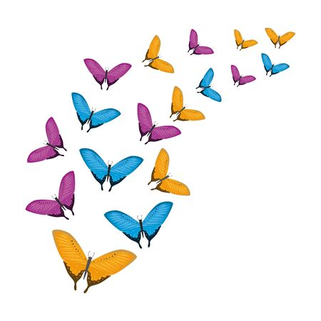 group of beautiful butterflies flying vector illustration design