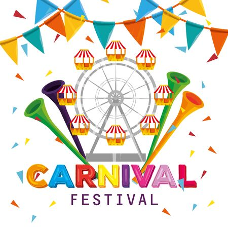 ferris wheel with trumpets and party banner to carnival vector illustration
