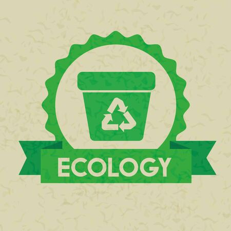 label with ecology recycle trash and ribbon vector illustration
