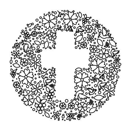 first communion cross floral decoration vector illustration design