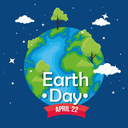 planet with trees and clouds to earth day vector illustration Çizim